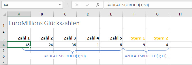 Beispiel Funktion ZUFALLSBEREICH